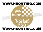 Gus Kuhn Norton 750 Tank and Fairing Transfer Decal  DGK1-30 GOLD